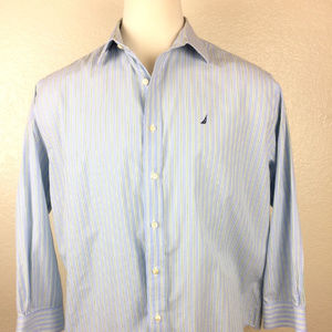 Nautica Blue & Green Striped Shirt 17 1/2
